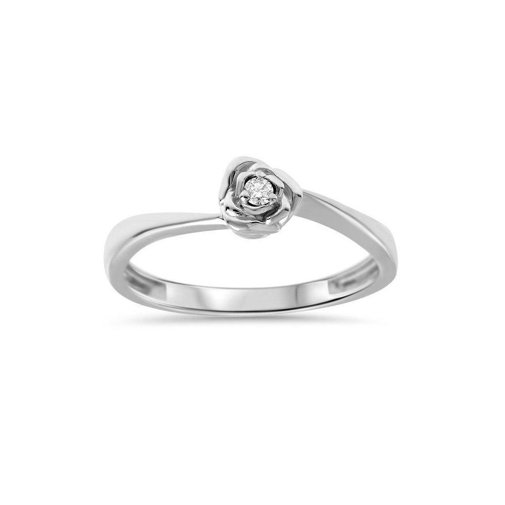Złoty Pierścionek Zaręczynowy 585 Brylant 003 Ct Róża Viadempl