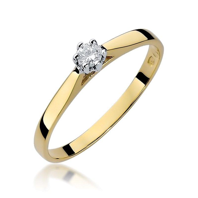 Złoty Pierścionek Zaręczynowy 585 Brylant 009 Ct Biżuteria