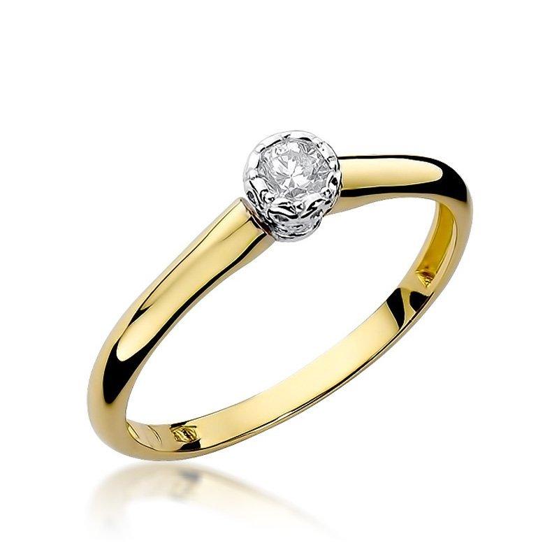 Złoty Pierścionek Zaręczynowy 585 Brylant 013 Ct żółte Złoto