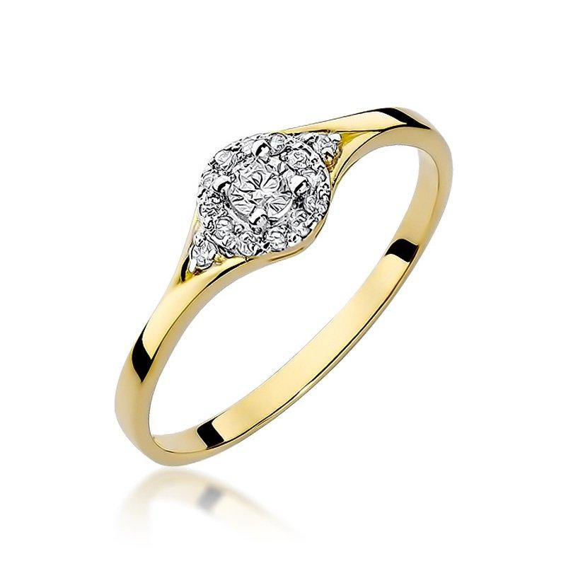 Złoty Pierścionek Zaręczynowy 585 Brylant 017 Ct żółte Złoto