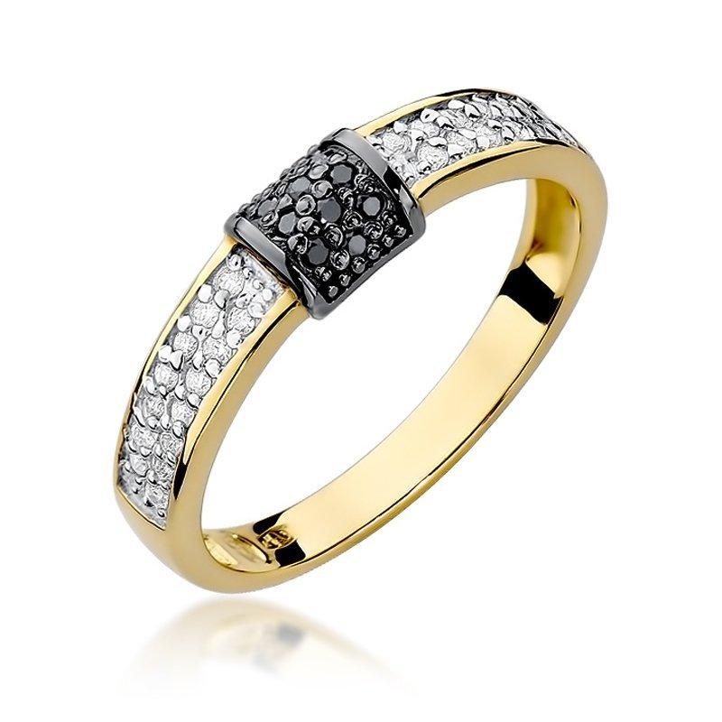 Złoty Pierścionek Zaręczynowy 585 Brylant 019 Ct Biżuteria
