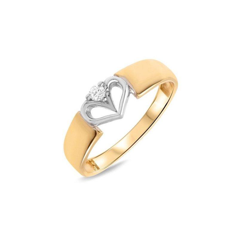 Złoty Pierścionek Zaręczynowy 585 Brylant 004 Ct Serce Viadempl